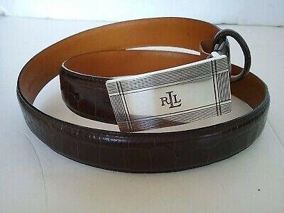 Ralph Lauren Men's Alligator Brown Italian Leather RLL Silver Plaque Buckle Belt