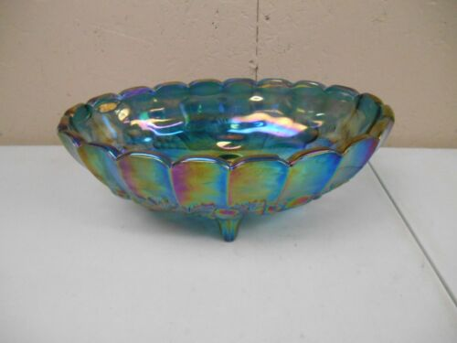 Vintage Iridescent Blue Indiana Carnival Glass Footed Oval Harvest Fruit Bowl