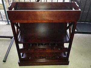 Cherry wood coloured wine and liquor stand