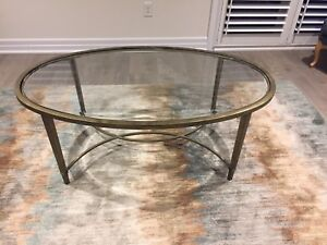 Oval glass coffee table $400 obo