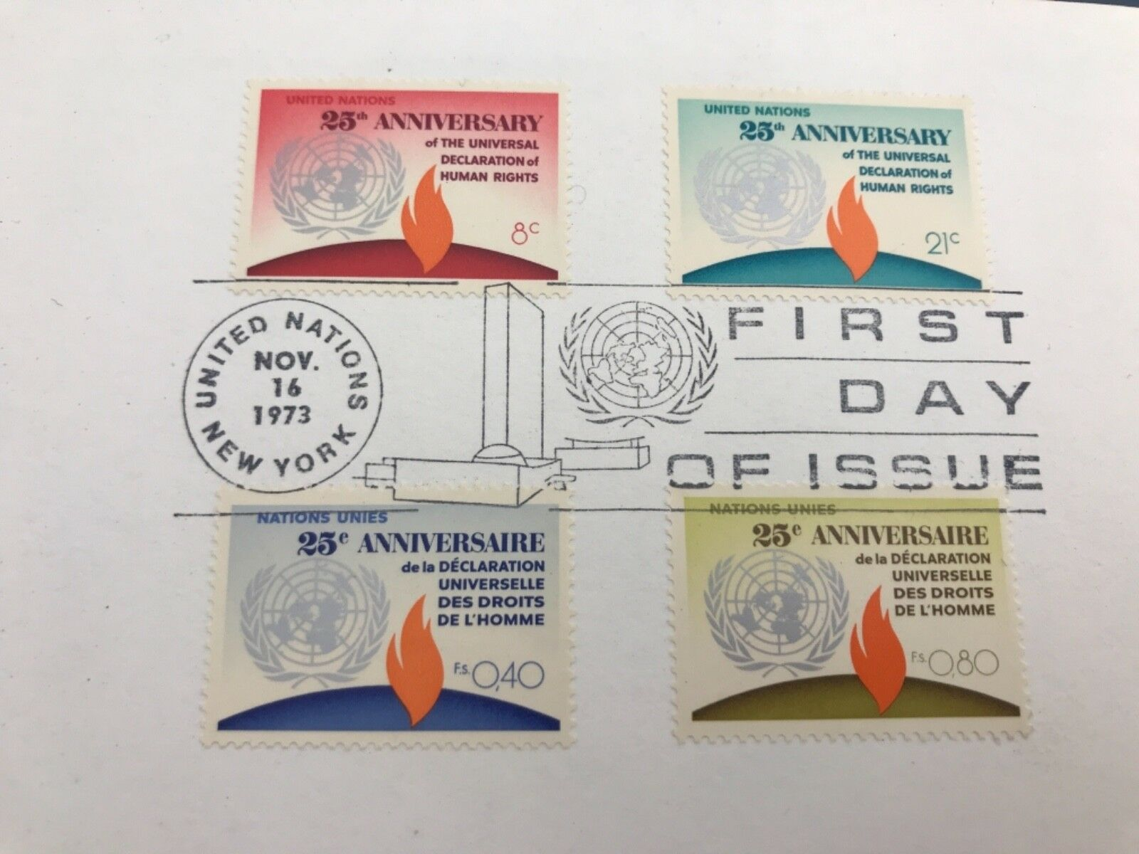 United Nations FDI Nov 16, 1973 New York 25th Anniversary Stamps Human Rights - $1.25