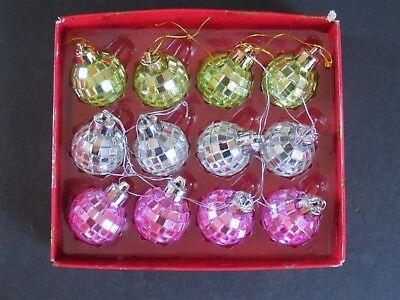 12 Silver Green Pink  Disco Ball Ornaments Mirror Balls Mini ~ 1 1/4