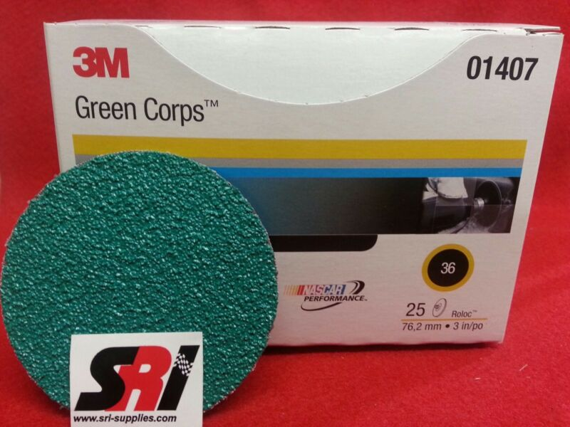"3M Green Corps Roloc Grinding Discs, 3"" 36-Grit: 01407"