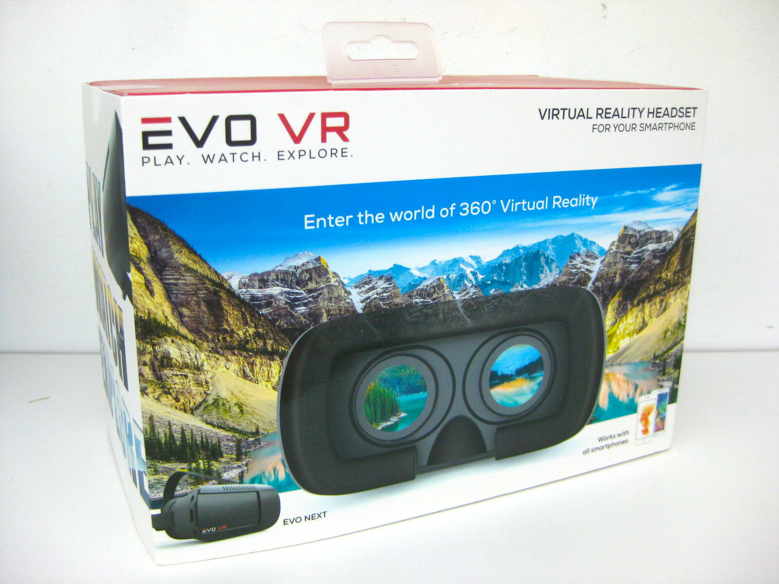 EVO VR - Virtual Reality Headset for All Smartphones - IOS & Android - Black