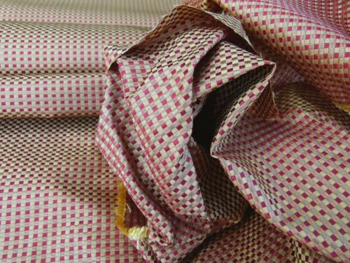 By Yard Scalamandre GODWIN RUSSET Gold Red Mini Check Silk Damask MSRP$258/YD