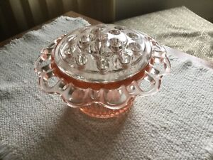Flower Frog and Bowl Lace Edge Pink Depression Glass
