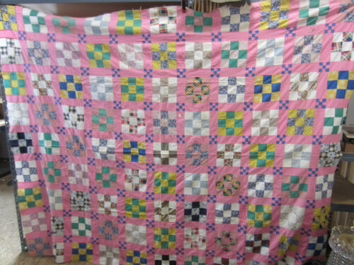 Vintage Hand Sewn Quilt Top- Pink-9 Patch Pattern QT#20