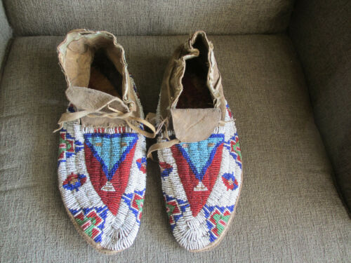 1850-1880 NATIVE AMERICAN CHEYENNNE INDIAN BEADED PAINTED PARFLECHE MOCCASINS #2