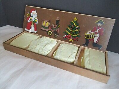 VTG Set Flat ORNAMENTS Bisque/Porcelain Drummer Boy Train Christmas Tree Santa