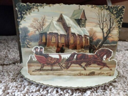 Vintage Victorian style Christmas Currier and Ives easel Christmas card