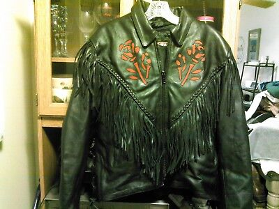 NWOT Interstate Leathers Womens Fringe Braided Red Rose Inlay Motorcycle Jacket ()