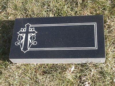 Granite Headstone Grave Marker- Black