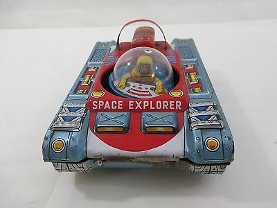Rare, Vintage 1960s Tin Litho Made in Japan Tomura, Friction Space Explorer Tank