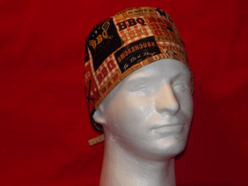 Unisex Surgery Scrub Hat Surgical Cap Medical Skull  Men Handmade Chef Tie Back