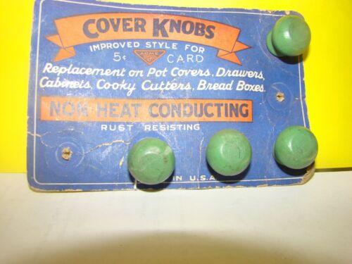 Vintage Green Wood Cabinet Drawer Knobs or Cooking Pot Lid Knobs 30's DISPLAY