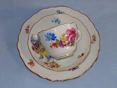 Gorgeous Meissen Floral Porcelain Trio Cup Saucer Plate