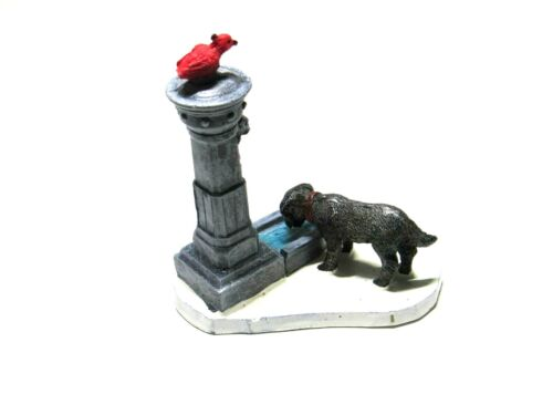 Lemax Village Dog Drinking Fountain with Cardinal Bird On Top