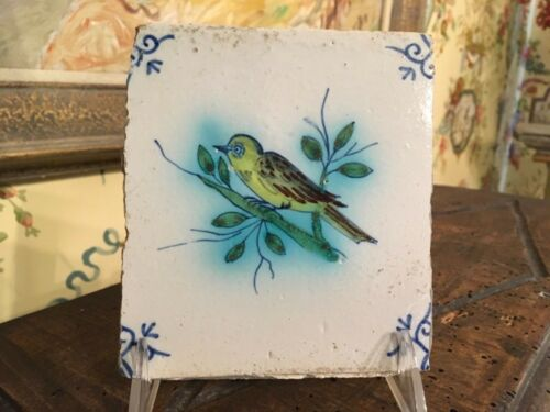 Delft Polychrome Tile 18th-19th Century Yellow Bird On A Limb