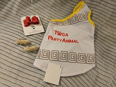 Toga tee for dogs with matching bows size XS](Toga Dog)