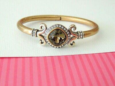 Brighton Lion's Lions Eye Cross Gold Silver Topaz Crystal Bracelet Bangle $82