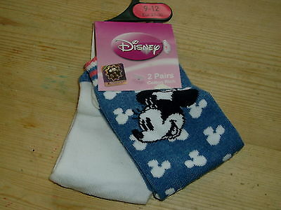 Disney/Minnie Mouse 2 Pairs Cotton Rich Socks UK 9-12 EU 27-30 White/Blue BNWT