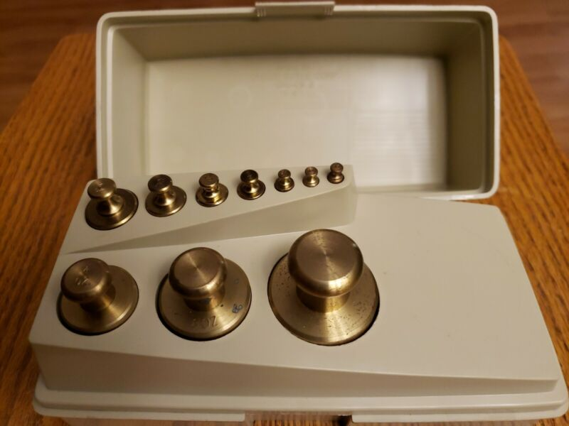 """10pc Ohaus """"Sto-A-Weight"""" Calibrated Brass Weights Set 1lb"""