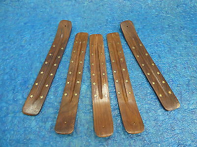 10 INCH Incense burner ash catcher stick brass star inlay (5 PCS LOT) FREE SHIP Brass Inlay Stick Incense Burner