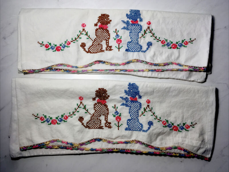 Vintage Poodle Embroidered Pillowcase Pair