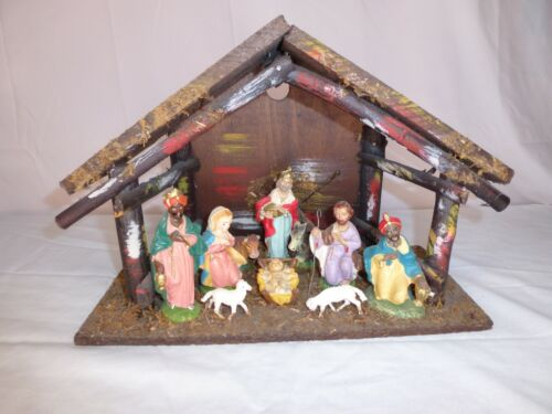 Vintage Nativity Scene - Wooden Manger - Made in Italy - Christmas -- Creche