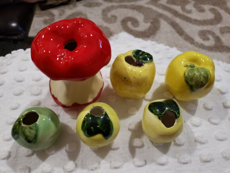 Vintage Ceramic Apple Red Green Yellow Golden Macrame Beads Lot of 6 NOS