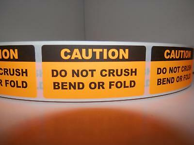 Caution Do Not Crush Bend Or Fold 1x2 Orange Fluorescent Sticker Label 250rl