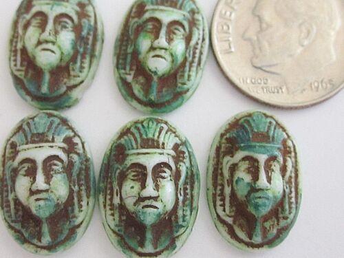 5 RARE MAX NEIGER ART DECO EGYPTIAN REVIVAL SCARAB GLASS CAB STONES CRAFT GREEN