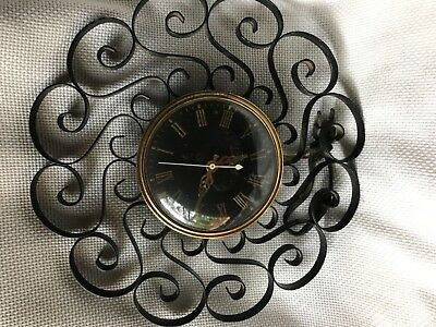 Vintage Mid Mod General Electric Telechron Scroll Clock Wrought Iron Black 2HA60