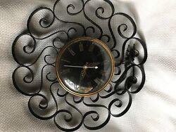 Vintage Mid Mod General Electric Telechron Scroll Clock Wrought Iron Black 2HA60