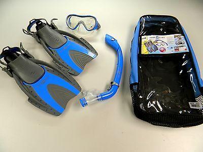 Aqua Lung Sport Pro Youth  Kids  Snorkel Mask Fins Size Bag Set Blue Large