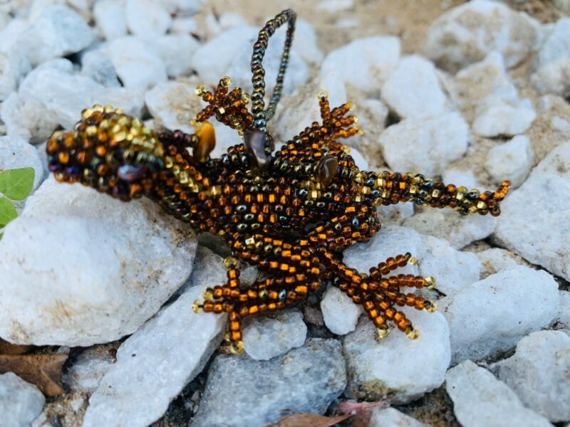 Handmade Guatemalan Beaded Lizard Ornament Gift Decoration Sun Catcher
