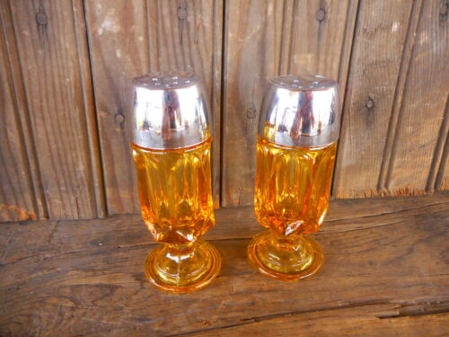 Vintage Amber glass salt & pepper set with silver tops