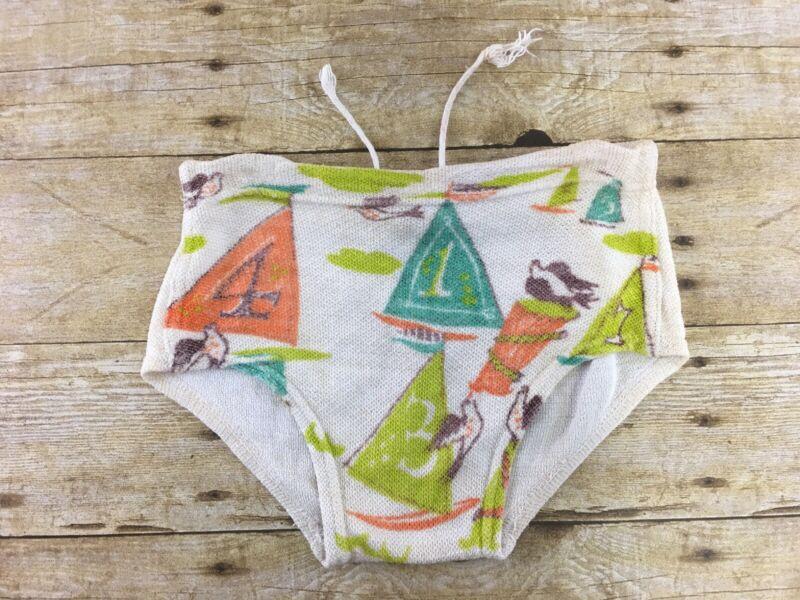 "Vtg Kaynee Boys Swimsuit Brief Swimwear Size 2 (20"" waist) Toy Sailboats 50s 60s"
