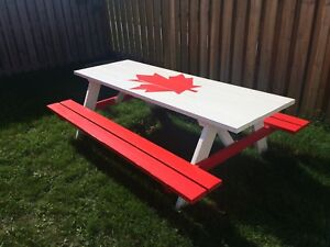 Canada Flag Handcrafted Pine Picnic Table