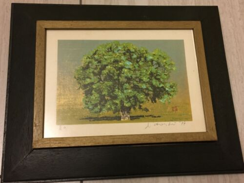 Joichi Hoshi Woodblock Print Summer Day 1977 Small Framed Gilded Japanese VTG