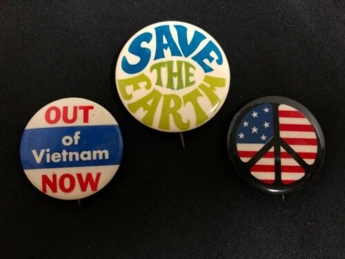 1960s LOT of 3 SAVE THE EARTH ~OUT OF VIETNAM NOW Anti-War Button NG SLATER CORP