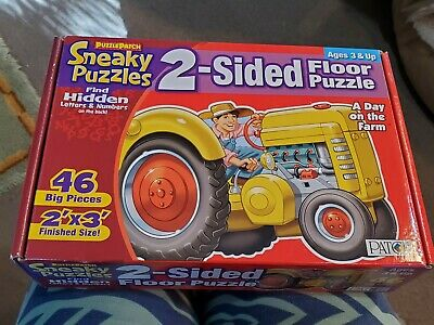 PuzzlePatch Great Big Sneaky 2-sided Floor Puzzles 46 BIG Pieces 2'x3' FARM