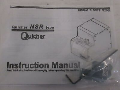 Quicher Nsr Electric Automatic Screw Feeder Instruction Manual New