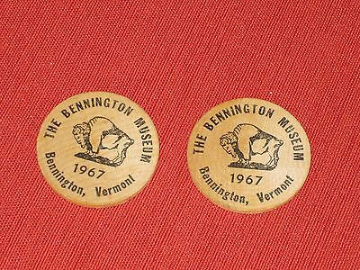 2 1967 Wooden Nickels  The Bennington Museum, Bennington, Vermont Advertising
