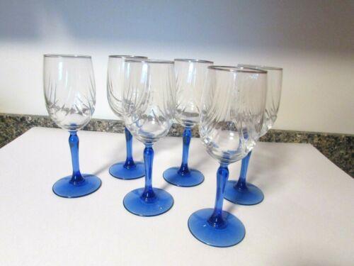Set of 6 Lennox Blue Stem Swag Draped Goblets