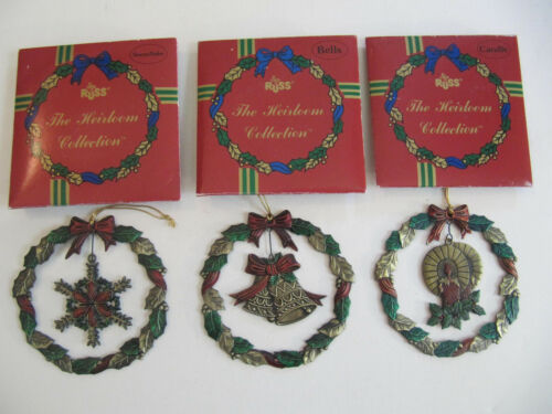 3 Russ Heirloom Collection Metal Christmas Ornament Metal Wreath lot