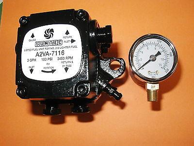 Suntec A2va 7116 2460gu Oil Burner Pump With 0 - 200 Psi Gauge 3450 Rpm