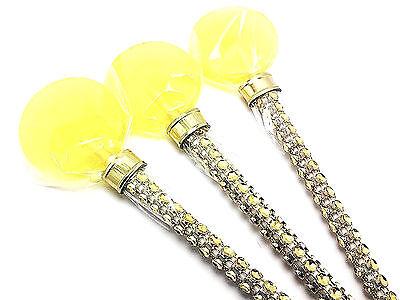12 YELLOW LOLLIPOPS ON BLING LOLLIPOP STICK - PERFECT WEDDING - Yellow Lollipops