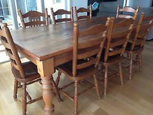 Timber dining table and 8 chairs Ellis Lane Camden Area Preview