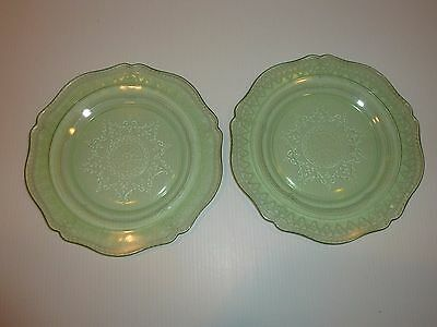 Vintage Federal Patrician Spoke Pair Green Depression Glass Luncheon Plates
